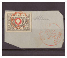 Switzerland 1850 – 5 cents black and red, cancelled with red rosette on letter fragment