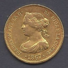 Spain - Isabel II - 4 escudos 1867 Madrid - Gold