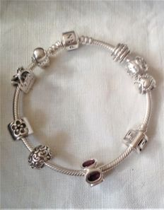 Pandora Silver Marked 925 9 x charms Bracelet - 60 mm dia