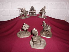 6 pewter miniatures of well-known scientists, issue of Franklin Mint, in honour of the 75 year anniversary of the German museum, very detailed!