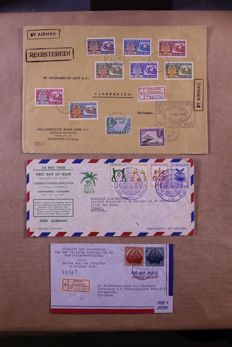 Curaçao, Antilles and Suriname 1938/1950 – Batch of 12 registered letters, covers and FDCs