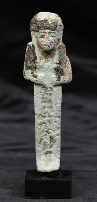 Egyptian faience ushabti with a vertical line of text - 82 mm