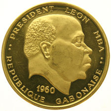 Gabon - 100 Francs 1960 'Independence - Head of Leon MBA' -  goud