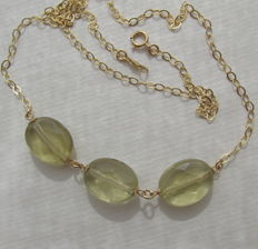 585-14 kt gold necklace with faceted lemon topaz