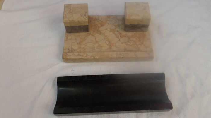 Antique marble desk set with inkwell + tray for pens + bookends wood