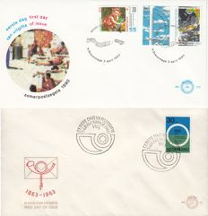 Netherlands 1963/1990 - 2 FDC varieties - NVPH E57fa and E272 with plate flaw 1444 P1