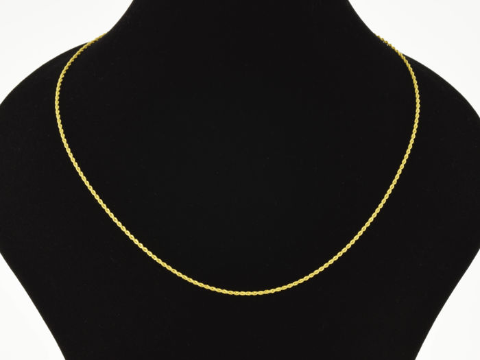 18k Gold Necklace. Cord. Chain - 45 cm