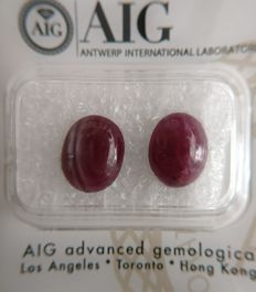 Couple Ruby Deep Purplish Red 7.03 ct    No Reserve Price