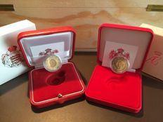 Monaco - 2 Euros, 2010, Proof and 2 Euros, 2011, Commemorative - UNC in Caskets