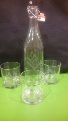 Set of 3 water glasses with bottle, hand engraved with square and compass