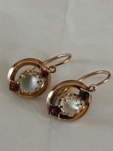 Stunning earrings, Bourbon Era (late 19th Century) in 14 kt gold