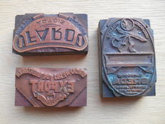 3 rare copper stamps of beer labels from 1880