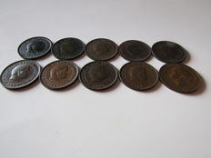 Portugal Monarchy - D. Carlos I - Set 11 Coins - 5 Reis 1891 to 1910 - Inclued 1897 & 1900 - Bronze