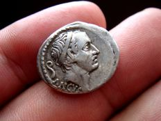Roman Republic - L. Marcius Philippus silver denarius (3,91 g 18 mm) minted in Rome in 57 B.C. Equestrian statue right on arcade of five arches.