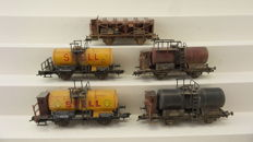 Sachsenmodelle H0 - 74163/14112 - Two sets of freight cars, including tanker wagons and general freight cars of the DRG nicely weathered