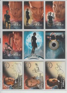 Tomb Raider - Inkworks - 2001 - near master set - 3x autograph cards, 1x pieceworks costume card PW1, 5x promo cards and complete base set - Angelina Jolie