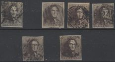 Belgium – Epaulettes 10c brown in several nuances 1, 1b, 1c, 1d, 1f and 1h – OBP 1
