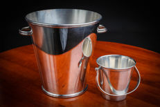 France - 2 buckets for champagne & ice, Saint HILAIRE, in silver plated metal with hallmarks