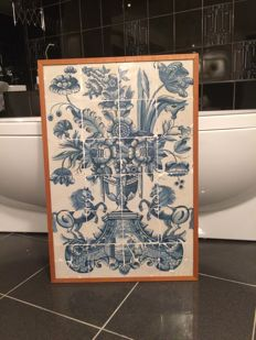 Frisian tile tableau with 24 tiles with depictions of a vase, flowers, horses, sail ships
