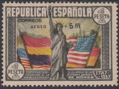 Spain 1938 – 150th anniversary of the Constitution of the United States.  Air mail. Roig marking - Edifil 765