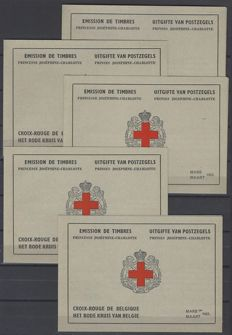 Belgium 1953 - 5 x OBP no. 914A(preference French) in stamp booklets Red Cross of 8 x Princess Josephine-Charlotte