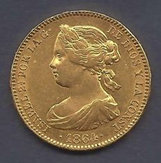 Spain - Isabel II - 100 Reales 1864 Madrid - Gold