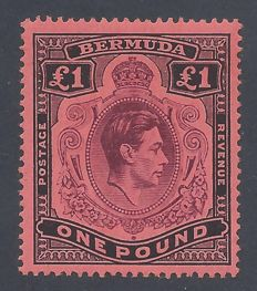 Bermuda 1938  - King George VI £1 Purple & Black - Stanley Gibbons 121