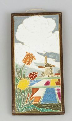 De Porceleyne Fles - Cloisonné tile depicting blooming flower bulb fields and a mill