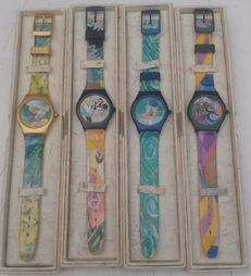 Disney - 4 Wrist Watches - Grand Masters Collection - Donald Duck van Gogh + Daisy Duck Monet + Pluto Signac + Minnie Mouse Toulouse-Lautrec