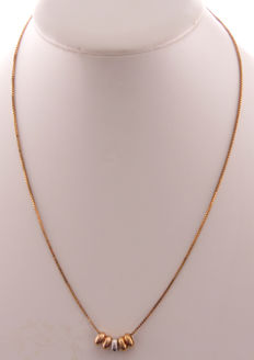 14 kt Gold Venetian necklace with rose, white and yellow gold pendants - 45 cm - Tricolour edition