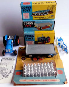 CORGI Toys - Scale 1/43 - Lot of 3 agricultural machinery: Nos.55, 61, 101, and load No.1487