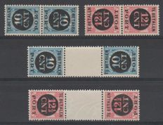 The Netherlands, 1924 - postage due, reverse print papers - NVPH P67a/b and P68a/b