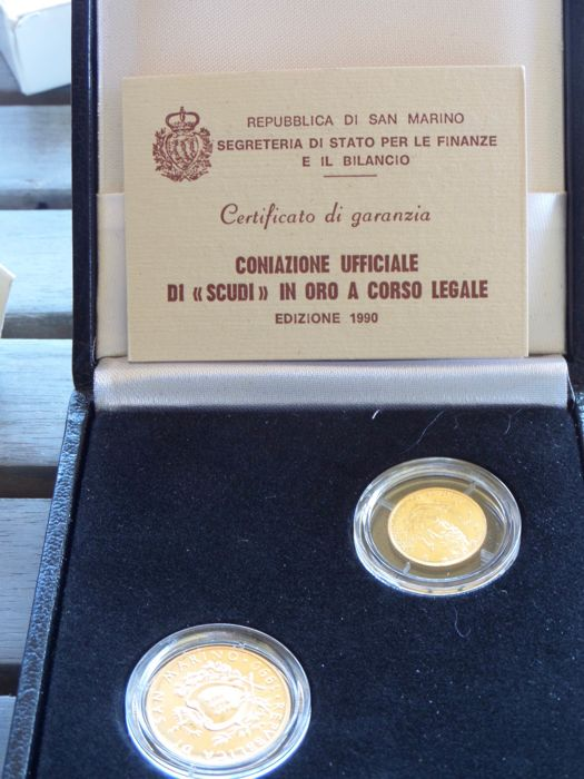 San Marino - 1 and 2 Scudi, 1990 in case (2 coins) - gold