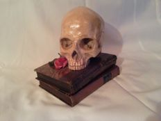 Vanity skull on a secret book with old gun