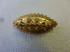 Yellow-gold cannetille brooch, provincial item of jewellery, 14 kt yellow gold