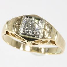 18K gold ring set with 1 brilliant cut diamond - 1950