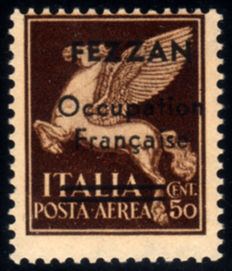 Fezzan 1943 - French occupation, 30 cent, brown, airmail, overprinted - Sassone N. A1