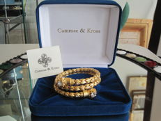 Vintage Camrose & Kross - JBK - Jackie Bouvier Kennedy - Goldtone flexible thick Bracelet with swarovski crystals in and outside