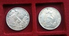 "Kingdom of Italy - 10 Lire, 1936, ""Impero"", and 10 Lire Vittorio Emanuele III (2 coins) - Silver"