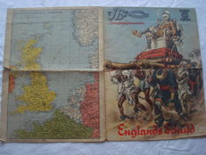 "Third Reich; 3 x maps, illustrated observer special, ""England Schuld"" from 1940 2nd World war"