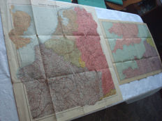 "Third Reich; Lot with 2 old original maps from 1940-1944, ""Unsere Westgrenze"" and ""Der Kanal"" WW2"