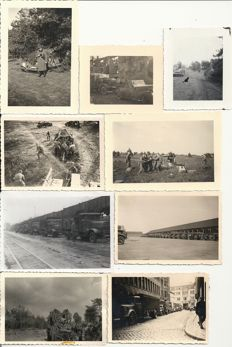 Third Reich; Lot with 76 original photos German Wehrmacht/Luftwaffe/Kriegsmarine cars, vehicles, motorcycles, guns, armoured paratroopers in Norway, Belgium, Netherlands, France, Balkans WW2
