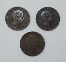 Spain - Trio of 10 cent coins of Alfonso XII from 1877, 1878 and 1879. Barcelona OM