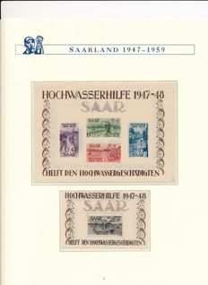 Saarland - 1947-1959 - complete collection with block 1 & 2, OPD Saarbrücken and official stamps on lighthouse album pages