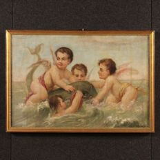 French painting (XXe) - Putti with mythological Dolphin