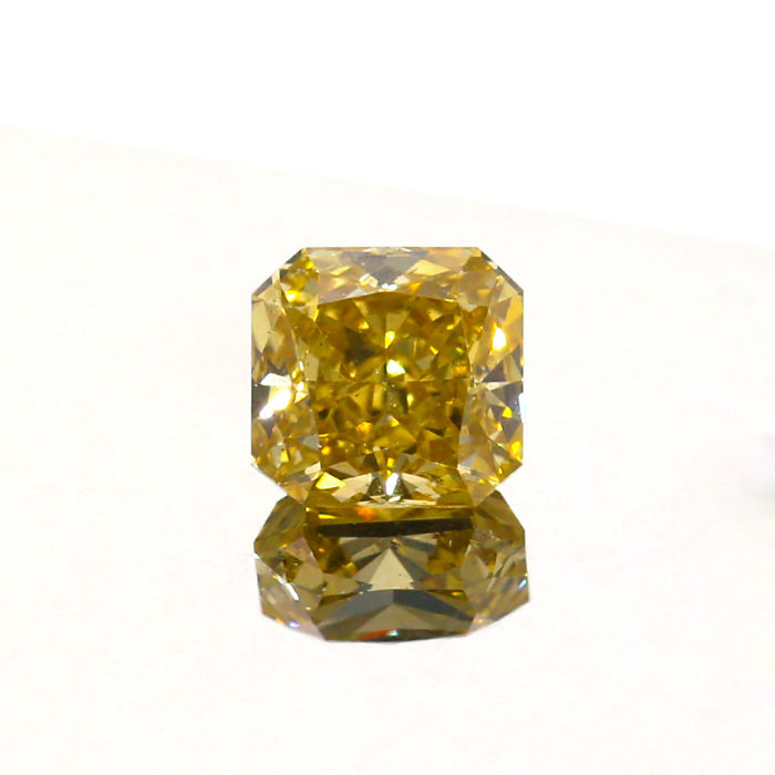 1.01 Ct. Natural Fancy Deep Brownish yellow Square Cushion shape Diamond