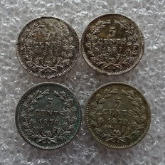 The Netherlands - 5 cent 1876, 1879 and 1887 (2x) Willem III, lot of 4 pieces - silver