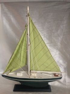 Handcrafted wooden sailing boat