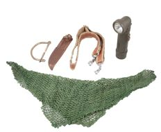A scrim net camouflage scarf together with an army torch, knife scabbard, belt and a clasp