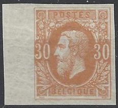 Belgium - OBP no. 33, Leopold II, profile facing left, 30 cent, ochre red, imperforate with sheet edge